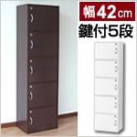 シンプル鍵付きボックス 5段 5枚扉付(幅42cm)